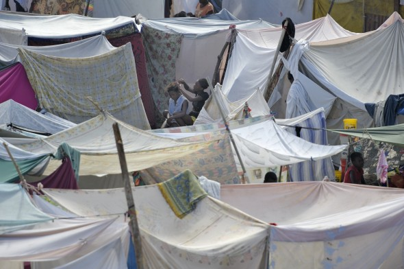Displaced families in tents following Haitian quake