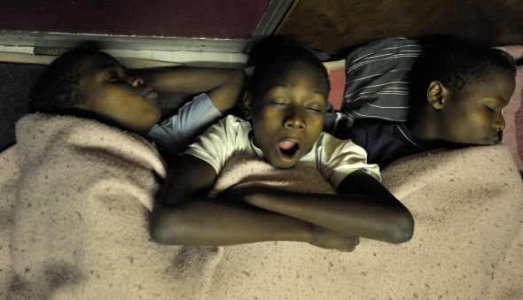 Refugee children from Zimbabwe sleep at night on the floor of the Central Methodist Church in Johannesburg, South Africa.